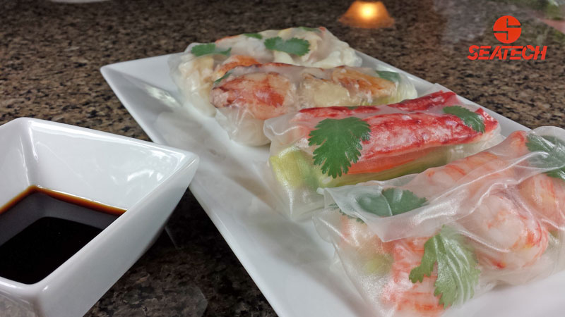 A photograph of Chilean king crab, Chilean crab meat and langostino spring rolls.