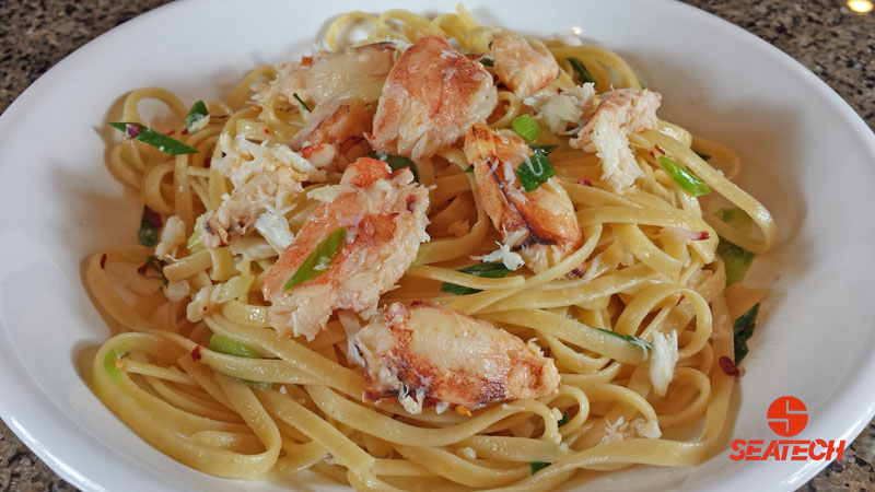 A photograph of Chilean crab meat linguine.