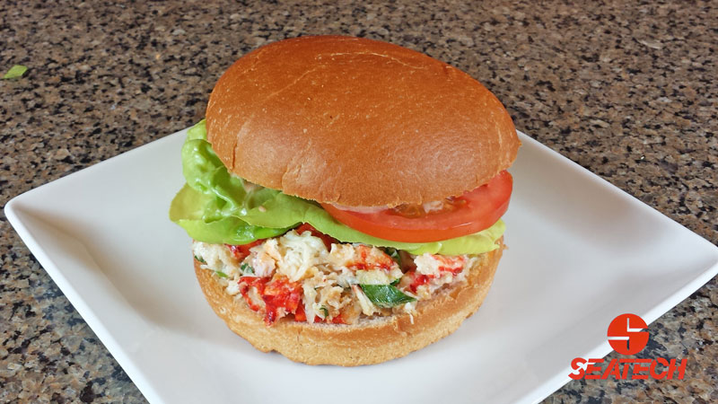 A photograph of a Chilean king crab burger