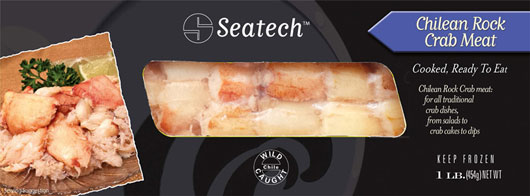 Seatech Chilean rock crab meat retail pack.