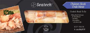Seatech Chilean Rock Crab Meat one pound pack retail ready. www.seatechcorp.com