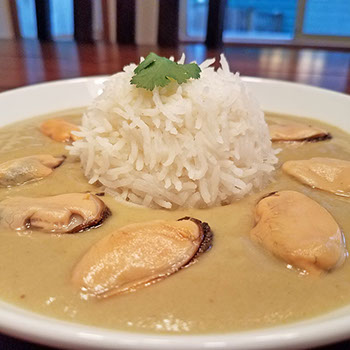 Green curry mussels with basmati rice.