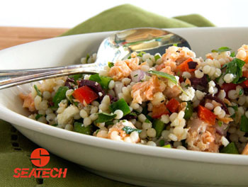 A photograph of mediterranean salmon couscous salad.