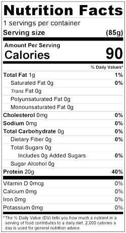 Nutrition facts for Paiche